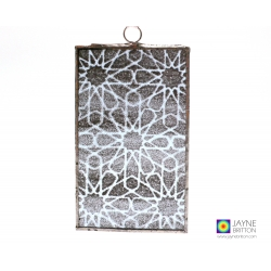 Alhambra stars pattern, leaded light sun catcher, fused glass panel