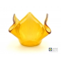Amber yellow fused glass candle vase, hankie vase, fused glass trinket bowl