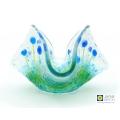 Blue flowers, handmade, fused glass trinket bowl, candle vase
