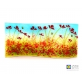 Poppies and bees curved panel, handmade fused glass, self standing art, red flowers