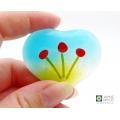 Red poppy flowers heart, hand held heart, pocket hug, worry stone