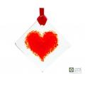 Red heart light catcher, Fused glass suncatcher, diamond shaped