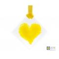 Yellow heart light catcher, mini fused glass suncatcher, diamond shaped, handmade