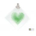 Green heart light catcher, handmade fused glass, made in uk