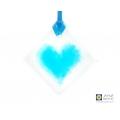 Turquoise blue heart light catcher, diamond shaped, handmade fused glass