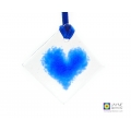 Indigo blue heart light catcher - diamond shaped