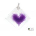Purple heart light catcher, diamond shaped, handmade fused glass