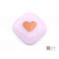Pink and gold handheld heart, pocket hug, worry stone, handmade fused glass