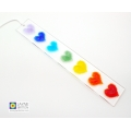 Rainbow light catcher, 7 chakras, hearts, handmade fused glass