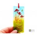 Poppies light catcher, red flowers, cottage garden poppy field, handmade fused glass
