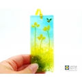 Yellow flowers with bee, handmade, fused glass light catcher, made in UK