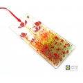 Poppies and bee light catcher on clear glass, handmade in UK, fused glass, Jayne Britton fused glass cards and gifts