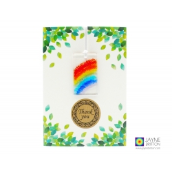 Thank you card with gift, rainbow light catcher, handmade fused glass, jayne britton fused glass cards and gifts