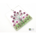 Pink and white flowers light catcher, hand painted fused glass, abstract flowers