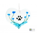 Paw print heart, dog or cat memorial fused glass heart