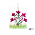 Hand painted abstract tulips, pink purple flowers light catcher, handmade fused glass