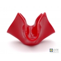 Red tealight candle holder, opaque red fused glass bowl, handmade in the UK