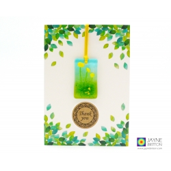 Thank you card with gift, yellow flowers, fused glass light catcher