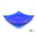 Indigo blue fused glass plate, square plate, bristol blue