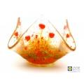 Orange flowers trinket bowl, handmade fused glass, small candle vase