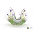 purple flowers candle vase, handmade fused glass trinket bowl