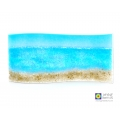 Sea and beach curved fused glass panel, self standing, seascape, beachscape