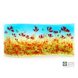 Poppies and bees curved fused glass panel, jayne britton, handmade fused glass art
