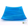 Ocean blues square fused glass plate, abstract sea, decorative plate
