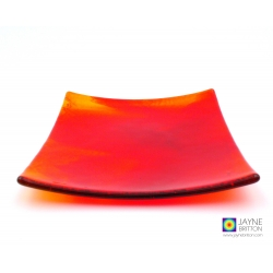 Fiery reds abstract fused glass plate, home decor, handmade decorative plate, square dish, decorative plate, red, orange