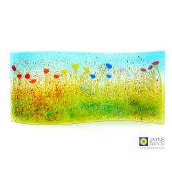 Rainbow flowers curved fused glass panel, handmade, jayne britton, fused glass cards and gifts
