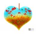 Larger heart light catcher, orange flowers, bees, handmade fused glass, jayne britton glass
