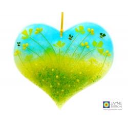 Larger heart light catcher, yellow flowers, bees, handmade fused glass, jayne britton glass