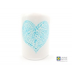 Bubbly heart sconce, blue and white, candle screen, handmade fused glass