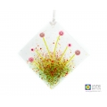 Diamond shaped fused glass light catcher with raised pink flowers on a textured background.   Measures approximately 9.5cm high by 9.5cm wide, drilled and fitted with a ribbon ready to hang.   Great for your windows, walls, as a tree decoration, indoors o