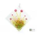 diamond shaped pink murrini flowers light catcher, handmade fused glass