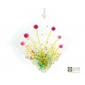 Diamond shaped purple murrini flowers light catcher, handmade fused glass, textured glass