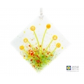 Sunflowers light catcher, yellow flowers, clear glass, textured fused glass