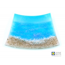 Beach and sea fused glass plate, square decorative plate, handmade fused glass