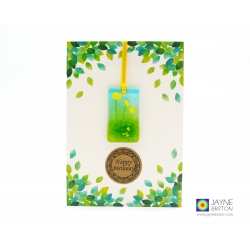 Birthday card with gift, yellow flowers fused glass light catcher, handmade in uk