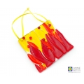 Abstract flames light catcher, red orange yellow, handmade fused glass