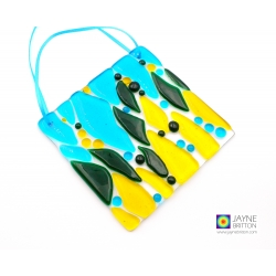 Abstract yellow, green, blue light catcher, handmade fused glass