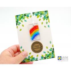 Birthday card with rainbow gift, fused glass light catcher, handmade in uk