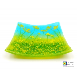 Yellow flowers plate, handmade fused glass plate, textured glass, decorative plate