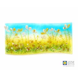 Yellow and white flowers, handmade fused glass, wild flower curve, self standing art