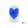 Bubbly heart sconce, deep blue and white, handmade fused glass curved candle screen