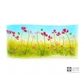 Pink flowers and bees curved fused glass panel, handmade fused glass, jayne britton cards and gifts