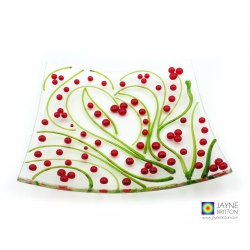 Holly berries plate, abstract heart, decorative fused glass, christmas