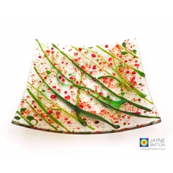 Holly berries plate, abstract pattern, decorative fused glass, christmas