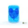 Bubbly heart sconce, sea blues, ocean mix, deep blue heart, handmade fused glass