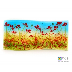 Poppies and bees curved fused glass panel, wave, jayne britton, handmade fused glass